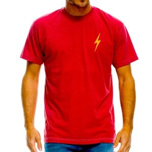Aviator Nation Red and Yellow Bolt Tee M